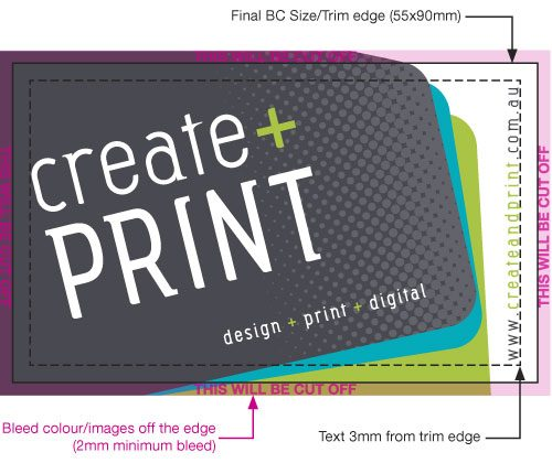 Technical information create and print business card artwork size 94 x 59mm this includes 2mm bleed on all sides minimum 2mm bleed required the finished size of the business cards is 90x55mm reheart Image collections